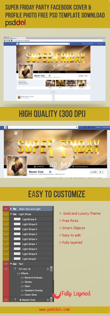 Free Psd Templates Download Super Friday Party Facebook Cover Profile