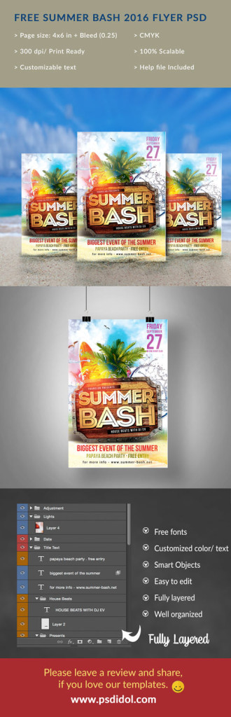 Free Psd Templates Download Summer Bash Party Flyer 2016