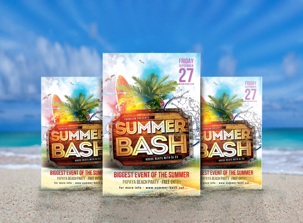 Free Psd Templates Download! Summer Bash Party Flyer 2016