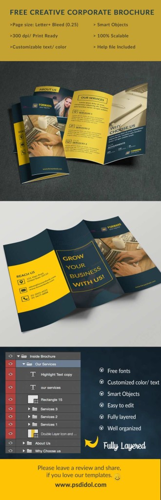 Free Trifold Brochure PSD Template